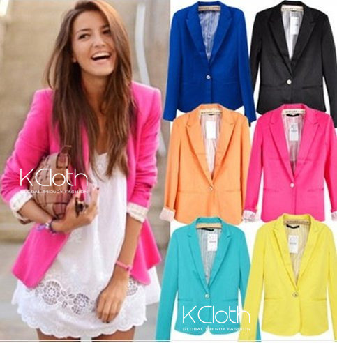Basic Slim Foldable Lapel Suit Jacket Blazer O1358 Women Blazer ...